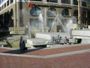 Fountain at United Nations Plaza in San Francisco, California